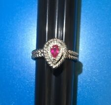 14k 585 White Gold Ring.  Pear Shaped Ruby With A Halo Of Natural Diamonds