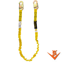 6 Foot Single Leg Internal Shock Lanyard with Steel Snap Hooks