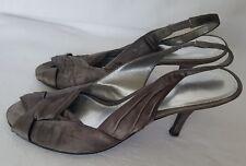 Barrats Ladies Taupe Shiny Grey Silver Sling Back Sandals Peep Shoes UK 6 EU 39
