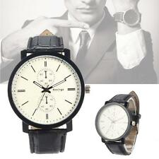 Men's Simplicity PU Leather Bracelet Quartz Wrist Watch Korean Style White GM