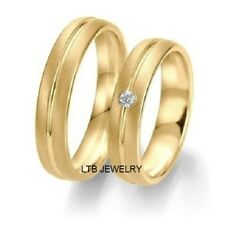 18K HIS & HERS YELLOW GOLD DIAMOND MATCHING WEDDING BAND RING SETS 6MM