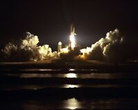 New 8x10 NASA Photo: Space Shuttle Atlantis Night Launch of Mission STS-86, 1997