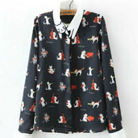 Womens Funky Cats Play Instruments Dancing Cats Shirt Cat Shape Collar Silky