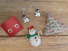 Christmas Holiday Themed Pin Brooch Earrings Lot As Is