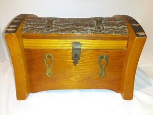 Vintage 1945 Rustic Log Live Edge Wood Box Jewelry Trinket Chest Handcrafted