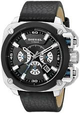 Men's Diesel Bamf Chronograph Leather Strap Watch DZ7345