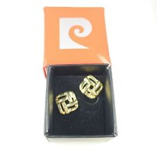 Pierre Cardin Boxed Ladies Earrings Vintage Gold Tone Celtic Crossed Thatched