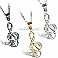 Lady Women Girls Stainless Steel Treble G Clef Music Note Charm Pendant Necklace