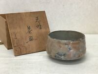 Y1645 CHAWAN Shino-ware signed box Japanese bowl pottery Japan tea ceremony
