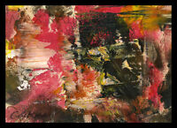Surrounded by Pink Ice ABSTRACT original oil painting ACEO miniature ART signed