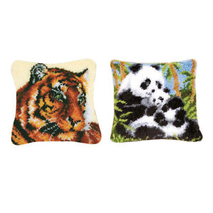 2Set DIY Animal Latch Hook Kits for Crocheting Pillowcase Cushion Mat Cover