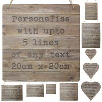 Personalised Rustic Wooden Style Signs Bespoke Plaque Custom Wedding Heart Gifts