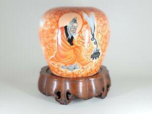 "Asian  Alum Red Porcelain Buddha Jar 6""H"