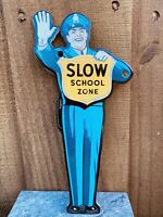 VINTAGE SLOW SCHOOL ZONE CROSSING GUARD PORCELAIN METAL SIGN USA POLICE OFFICER