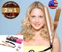 2 In1 Curling Iron Straightener Hair Ceramic Salon Curler Curling Hair Styler US