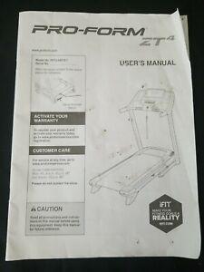 Pro-Form ZT4 Treadmill User's Manual for Model No. PFTL49013.1