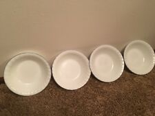 4 Corelle 7 Inch Winter Frost Bowls with Blue Trim