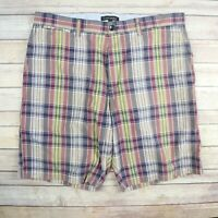 BANANA REPUBLIC Men's Cotton Plaid Shorts SIZE 36 Purple Blue & Yellow