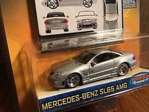 Mercedes benz SL65 AMG silver Jada Dub City Kustoms 1/64 Diecast Car 2006
