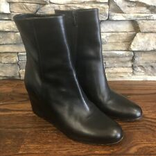 VINCE VERO CUOIO Black Leather ITALY Wedge Women's Boots Size US 9, EU 40