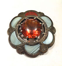 Scottish Antique Brooch Pin - Citrine Cairngorm Agate Victorian Style Pendant