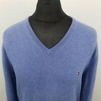 Tommy Hilfiger Mens  Pullover LARGE  Blue Cotton Sweater Jumper Knit V-Neck