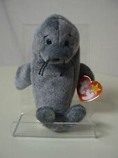 Ty Beanie Baby SLIPPERY Plush Gray Seal with Black Eyes and Black Whiskers