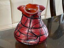 ANTIQUE BOHEMIAN ART NOUVEAU Iridescent Cranberry Red Loetz Era Case GLASS VASE