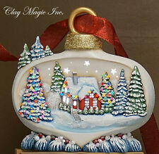 Ceramic Bisque Ready to Paint Medium Christmas Ornament with House scene