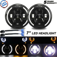"2X 7""INCH 200W LED Headlight Hi/Lo Beam Halo Projector For Jeep Wrangler CJ JK"