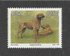 Rare Dog Art Portrait Postage Stamp Rhodesian Ridgeback South Africa 1991 Mnh