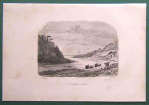 Gravure XIXe (Vers 1860)  La rivière de Gênes (Italie)