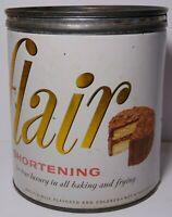Vintage 1956 FLAIR SHORTENING CAKE PIE FRIED CHICKEN GRAPHIC TIN DALLAS TEXAS TX