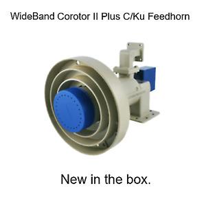 C Ku Band Feedhorn Corotor II Plus wideband Full spectrum 2 port feedhorn - NEW