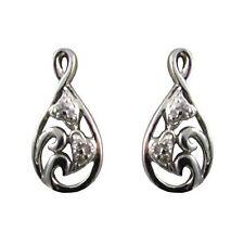 Open Teardrop Filigree Hearts White CZs Sterling Silver Drop Post Stud Earrings