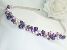 Handmade Bridesmaid Prom -  Purple Lilac pearl Tiara headband - hairband