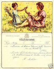 Antique 1956 Original Lithograph Telegram Telegraph Belgium Royal De Belgique