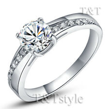 TT 18K White Gold GP Engagement Wedding Ring (RF14)