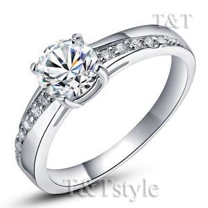 TT 18K White Gold GP Engagement Wedding Ring (RF14)