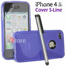 Cover Silicone Gel TPU S-Line Viola for iPhone 4/4G/4S + Film Pen