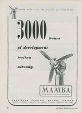 1948 Armstrong Siddeley Motor Ad Mamba Propeller Turbine Aircraft Engine British