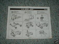 Revell US Army Jeep  Instructions 1981 issue kit