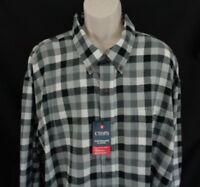 NWT Chaps Black gray plaid flannel long sleeve shirt men's 4XB