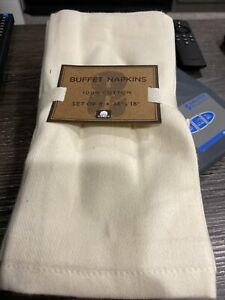 set of 8 100% cotton beige 18x18 napkins - NEW