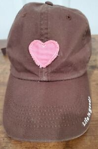 Ball Cap Womens Life Is Good Chocolate Brown W/ Pink Heart EUC