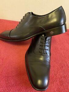 Roberto Cavalli Vitelino Men's Black Leather Shoes size - Euro-42.5