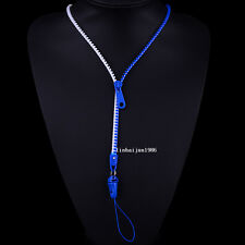 NEW Free shipping zipper necklace Employee's card/key hang rope blue+white F73