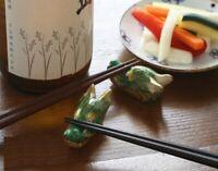 Pair Hashioki Chopstick rest set Kyoto Kyo Kiyomizu yaki ware Dragon motif Japan