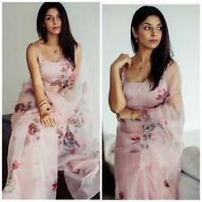 Indian Party Wear Saree Bollywood Flower Saree Moss organza Fancy Designer Saree