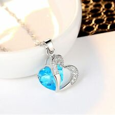 Blue Stone Pendant For Women Girls Long Statement Jewelry Necklace Chain